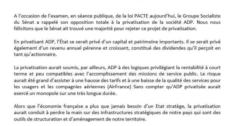 Merci au Sénat qui a rejeté la privatisation de l'Aéroport de Paris